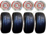 """Golf Cart Wheels & Tires Rims Machined & Red 10"""" Wheel Low Pro DOT 205/50-10"""