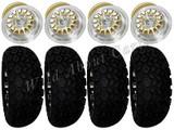 "Golf Cart Wheels & Tires Rims Gold & Machined Phoenix 10"" Wheel DOT AT 22/11-10"