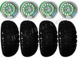 "Golf Cart Wheels & Tires Rims Green & Machined Phoenix 10"" Wheel DOT AT 22/11-10"