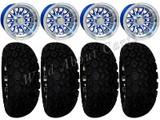 "Golf Cart Wheels & Tires Rims Blue & Machined Phoenix 10"" Wheel DOT AT 22/11-10"