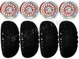 "Golf Cart Wheels & Tires Rims Red & Machined Phoenix 10"" Wheel DOT AT 22/11-10"