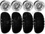 "Golf Cart Wheels & Tires Rims Black & Machined Phoenix 10"" Wheel DOT AT 22/11-10"