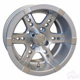 EZ GO TXT Golf Cart Wheels, Tires & Lift Package Rims Machined, Silver 12""