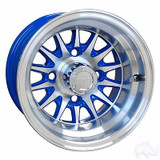 "EZ GO RXV Golf Cart Wheels, Tires & Lift Package Rims Blue & Machined Phoenix 10"" Wheel"