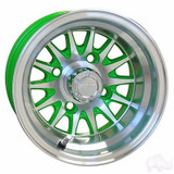 "EZ Go RXV Golf Cart Wheels, Tires & Lift  Package Rims Green & Machined Phoenix 10"" Wheel"