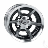 EZ GO RXV Golf Cart Wheels, Tires & Lift Package Rims SS6 Machined & Black 10""