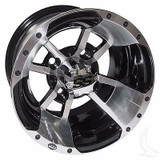 EZ GO RXV Golf Cart Wheels, Tires & Lift Package Rims SS112 Machined & Black 10""