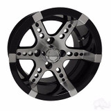 EZ GO RXV Golf Cart Wheels, Tires & Lift Packages Rims 250 Machined, Black 12""