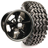 "Yamaha Set of (4) 12"" Glossy Black Godfather Wheels & A/T Tires & Lift"