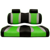 Madjax Tsunami custom Black–Liquid Silver w/ Green Wave front seat cushions