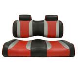 Madjax Tsunami Shockjet–Liquid Silver w/ Hot Rod Red Club Car Precedent Front Seat Cushions