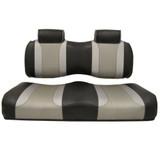 Madjax Tsunami Black–Liquid Silver w/ Silver Rush EZGO TXT/RXV Front Seat Cushions