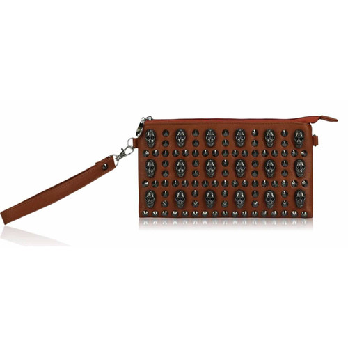 Studded Clutch Bag with Skull Embellishments - Brown