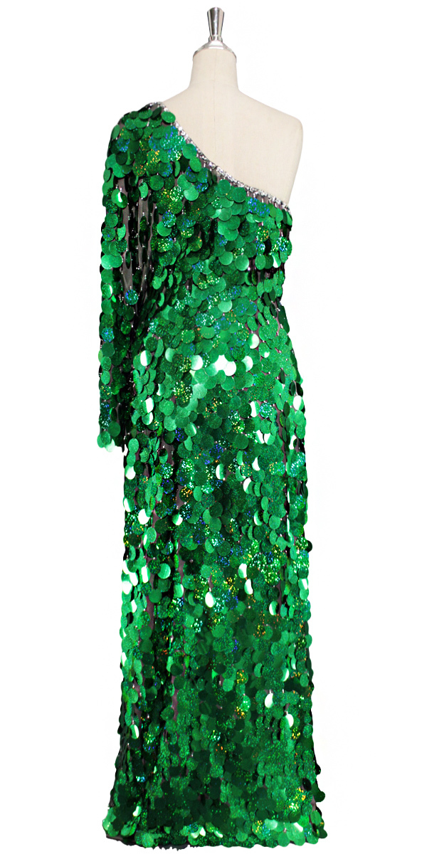 Long One-Sleeve Dress | Handmade | Paillette Sequin Spangles ...