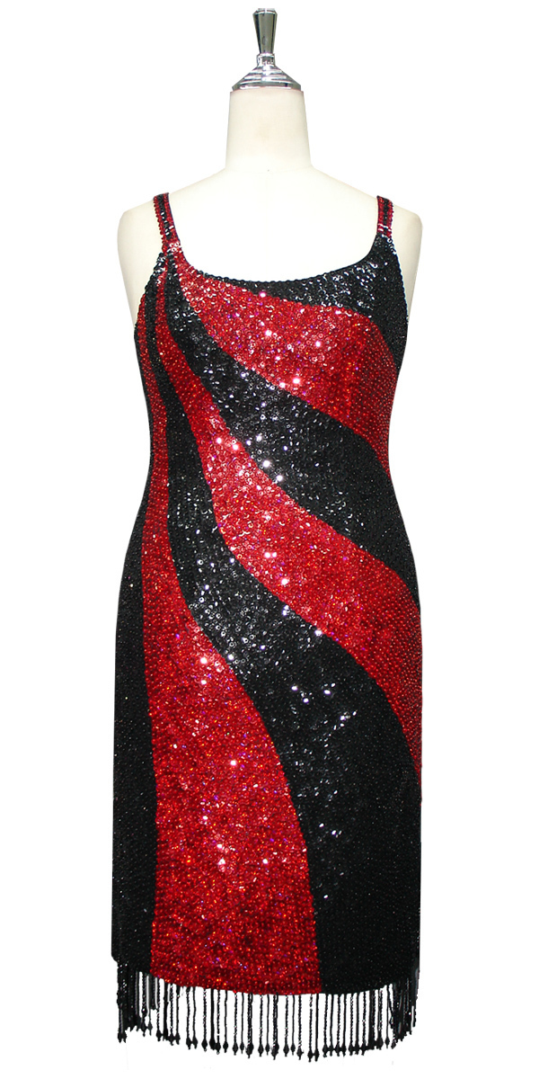 Red black sequin dress
