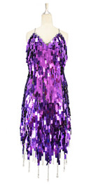 A short handmade sequin dress, in rectangular metallic purple paillette sequins with silver faceted beads dress front view