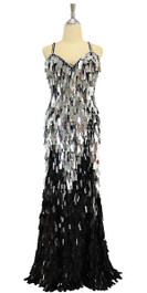 Long handmade sequin dress in rectangular black and metallic silver paillette sequins over black base fabric in a classic flared hemline cut front view