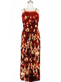 Long Handmade Paillette Sequin Gown in Metallic Copper front view