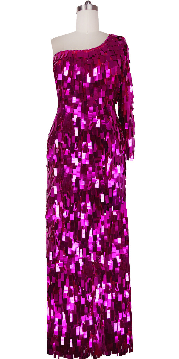 Long Dress | Handmade | Paillette Sequin Spangles | Metallic Fuchsia ...