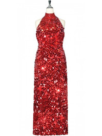 Long Handmade Paillette Sequin Gown in Metallic Red with Chinese Collar front view