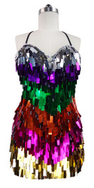 Short Handmade Multicolored Rectangle Paillette Sequin Dress front view