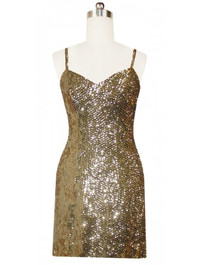 Short Handmade 8mm Cupped Sequin Gown in Metallic Light Gold Front view
