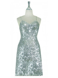 Short Handmade 8mm Cupped Sequin Dress in Classic Metallic Silver front view