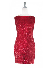 Short Cowl-back Handmade 8mm Cupped Sequin Dress in Metallic Dark Red front view