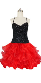 Short Handmade 8mm Cupped Sequin Dress in Black with Red Organza Ruffled Hemline front view