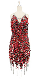 A short handmade sequin dress, in 20mm metallic red paillette sequins with silver faceted beads, a luxe grey fabric background and jagged, beaded hemline