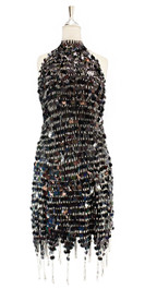 Short handmade sequin dress, in black paillette sequins with silver faceted beads, a Chinese collar and jagged, beaded hemline front view