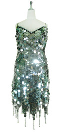 Short Handmade 30mm Paillette Hanging Metallic Silver Sequin Dress with Jagged, Beaded Hemline front view