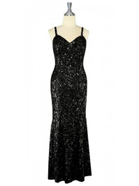 Long Handmade 8mm Cupped Sequin Dress in Black front view