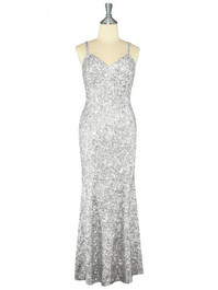 Long Handmade 8mm Cupped Sequin Dress in Hologram Silver front view