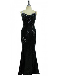Long Handmade 10mm Flat Sequin Gown in Black with Highlight Crystals Front View