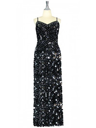 Long Handmade Paillette Sequin Gown in Black with Silver Beads front view