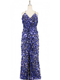 A long handmade sequin dress, in 20mm hologram royal blue paillette sequins with silver faceted beads and a luxe grey fabric background in a classic cut front view