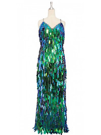 Long handmade sequin dress in iridescent green rectangular paillette sequins with silver faceted beads and a luxe grey fabric background front view