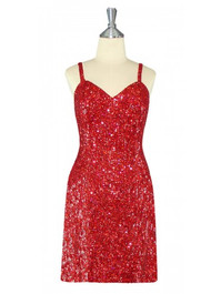 Short Handmade 8mm Cupped Sequin Gown in Hologram Red front view