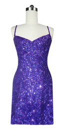 Short Handmade 8mm Cupped Sequin Gown in Hologram Purple Front View
