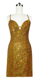 Short Handmade 8mm Cupped Sequin Gown in Hologram Gold front view