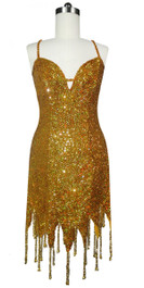 Short Handmade 8mm Cupped Sequin Dress in Hologram Gold with Jagged Beaded Hemline front view