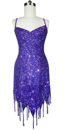 Short Handmade 8mm Cupped Sequin Dress in Hologram Purple with Jagged Beaded Hemline front view