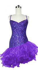 Short Handmade 8mm Cupped Sequin Dress in Hologram Purple with Organza Ruffled Diagonal Hemline front view