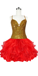 Short Handmade 8mm Cupped Sequin Dress in Hologram Gold with Red Organza Ruffles front view