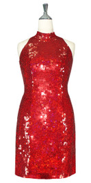 Short Handmade 10mm Flat Sequin Dress in Hologram Red with Chinese Collar front view