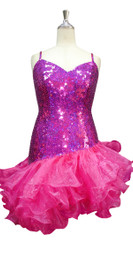 Short Handmade 10mm Flat Sequin Dress in Hologram Pink and Diagonal Organza Skirt front view