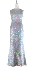 Long Cowl Back Handmade 8mm Cupped Sequin Dress in Hologram Silver  front view