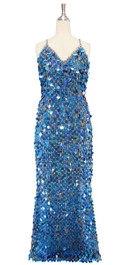 A long handmade sequin dress, in 20mm hologram dark blue paillette sequins with silver faceted beads and a luxe grey fabric background in a classic cut front view
