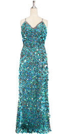 A long handmade sequin dress, in 20mm hologram turquoise paillette sequins with silver faceted beads and a luxe grey fabric background in a halter-neck cut. front view